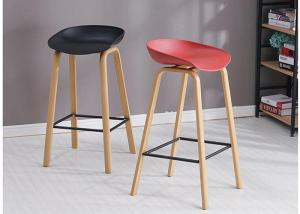 China Height Fixed Beech Bar Stool , PU Synthetic Leather Bar Stools Counter Height wholesale
