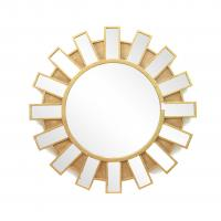 China FR-15401 sunburst wall mirror with metal with gold leaf frame for home wholesale