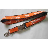 China Cutom Woven Ribbon Satin Lanyard With Half Metal and Plastic Buckle Release wholesale