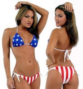 China Victoras Screct female fission gathered bikini swimsuit vs hot spring American flag style wholesale