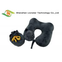 China Logo Weaved Inflatable Travel Pillow , U Shape Velvet Inflatable Air Pillow wholesale