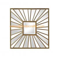 China Living Room Square Antique Gold Sunburst Mounted Modern Metal  Wall Mirror wholesale