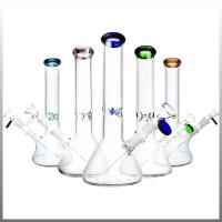 China 10 Inch Pyrex Glass Water Bongs , 14mm Joint Bottom Beaker Bongs For Weed Dry Herb wholesale