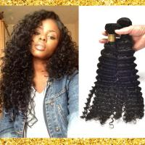 China Black Deep Curly Grade 8A Virgin Hair Weave No Nits And No Terrible Smell wholesale