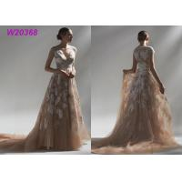 China Ball Multi Colored Wedding Gowns Brown Lace Appliques Bridal Gowns Long Robe wholesale