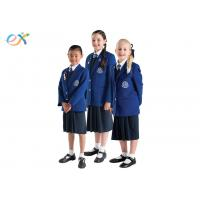 China EEC Custom School Uniforms Blue Blazer White Shirts / Shorts Skirt For Primary Middle wholesale