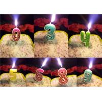 Quality Rose Design 0 - 9 Number Birthday Candles For Birthday Party , Customized Color wholesale