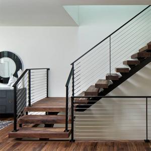 China Customized Modern Teak Stair Treads Mono Steel Stringer Wood Staircase wholesale