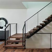 China Prefab Open Internal Single Stringer Staircase with Stainless Steel Wire Railing wholesale