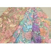 China Bead Embroidered Lace Fabric, Scalloped Multi Color 3D Flower Lace Fabric For Dress wholesale