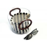 China Canvas Round Shape Navy Blue Clutch Bag Stripe Pattern With Wood Handle 0.8 MM wholesale