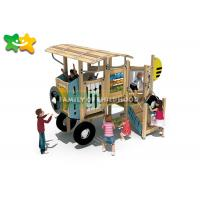 China Adventurous Wooden Playground Slide Car Modeling With Climbing Stairs wholesale