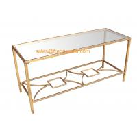 China FR-15112  Metal Framed Gold Foil Coffee Table with Mirror Top For Home and Hotel wholesale