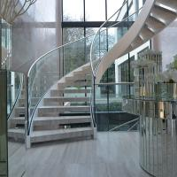 China House Used Woodern Tread Curved Staircases with Railing and Handrail wholesale
