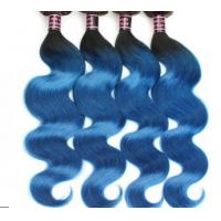 China Healthy Ombre Soft Blue Grade 8A Virgin Hair Extentions For Goddess wholesale