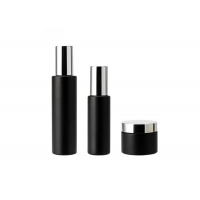 China Round Matte Frosted 50ml Black Glass Cosmetic Bottles wholesale