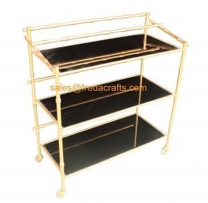 China Custome Design Gold Leaf Finish Modern Design Cheap Bamboo Iron Frame with Black Mirror Bar Cart on Wheels wholesale