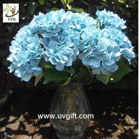 China UVG Blue 7 heads artificial cheap hydrangea fabric flowers wedding decoration centerpieces wholesale