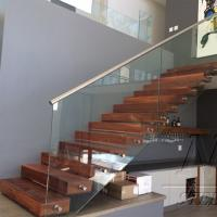 China Customized Single Stringer Wood Treads Floating Stairs / Straight Staircase / Glass Stairs wholesale