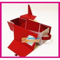 China Red Folding Mahogany / Cardboard / Rigid Paper Board Wine Packaging Boxes wholesale