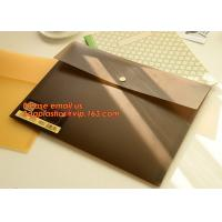 China PP Polypropylene Plastic Office Stationery, PP Translucent plastic button document file folder bag with line structure wholesale