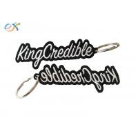 China Heat Cut Border Letter Custom Embroidered Key Tags With Metal Ring Accessory wholesale
