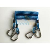 China Retractable Tool Tether Lanyards Blue Spring Elastic Plastic Coiled Tethers wholesale