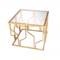 China Reasonable Price Quality Assured Fashion Design Metal Framed Tempered Glass Top Decorative  Coffee Table wholesale