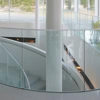 China Arched Tempered Glass Curved Glass Balustrade Aluminum Railing wholesale