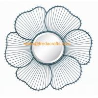 China China Factory Metal Wire Decorated Sunflower Shape Wall Mirror For Home Decor wholesale