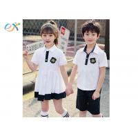 China Cool Custom School Uniforms / Summer School Uniform White Dress And Polo Shorts wholesale