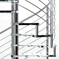 China Small Space House Used Stainless Steel Glass Spiral Staircase with 12mm Glass Railing wholesale