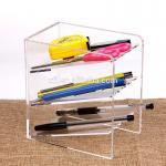 China 3 Tier Acrylic Shop Display Pen Holder Acrylic Stationery Shelf Display Rack Customized Logo wholesale