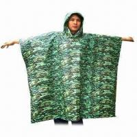 China Camouflage PVC Poncho, Customized Logos and Colors are Accepted, Measures 42 x 60 Inches wholesale