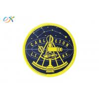 China Woven Logo Polyester Fabric Patch , Round Shape Merrowed Edge Patch Paper Coated Back wholesale