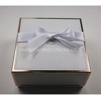 China High End Apparel Branded Gift Boxes With Ribbon Bow Gold Hot Stamp Foil Printing on sale