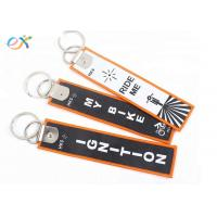 China Double Side Design Custom Embroidered Key Tags With Machine Woven Own Name Logo wholesale