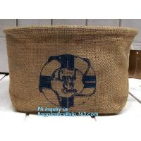 China Fabric 3 sets Jute home organization storage basket/boxes stackable for household with cotton handle bagease package wholesale
