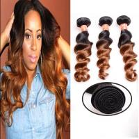 China Soft And Silky Body Wave Human Hair Ombre Extensions , Black And Blonde Dip Dye Hair Extensions wholesale