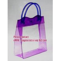 China clear pvc packaging bag with handle for wine, vinyl pvc zipper gift tote bags with handles, gift bag with plastic snap wholesale