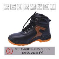 Quality best-selling leather safety shoes with steel toe cap and plate for work time 9079 for sale