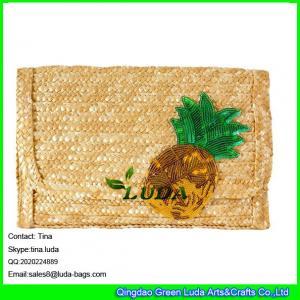 China LUDA designer handbags straw purse sequins pineapple wheat straw clutch bag on sale