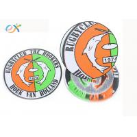 China Bulk Design Round Woven Label Patch Custom Made Club Name Logo In Clothing wholesale