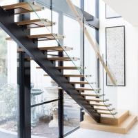 China Modern Design Straight Glass Staircase with Solid Oak Staircase wholesale
