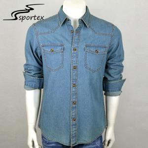 China Cowboy Blue Jean Long Sleeve Shirt Denim Fabric Type XS - 2XL Size Free Samples on sale
