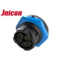China Circular Waterproof Audio Video Connector Panel Mount 5 Pin Socket Black And Blue on sale