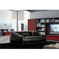 Quality Brazil Leather Living Room Couches , 3 Seats Black Lounge Chair for sale
