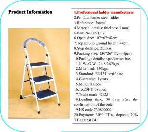 China Non Slip 3 Step 0.8mm Double Sided A Frame Ladder wholesale