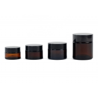 China Amber 15ml 50ml Glass Cosmetic Cream Jar With Screw Cap wholesale