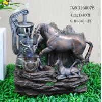 China Horse Animal Large Resin Water Fountain With Flashing Light 40 X 30 X 41 Cm wholesale